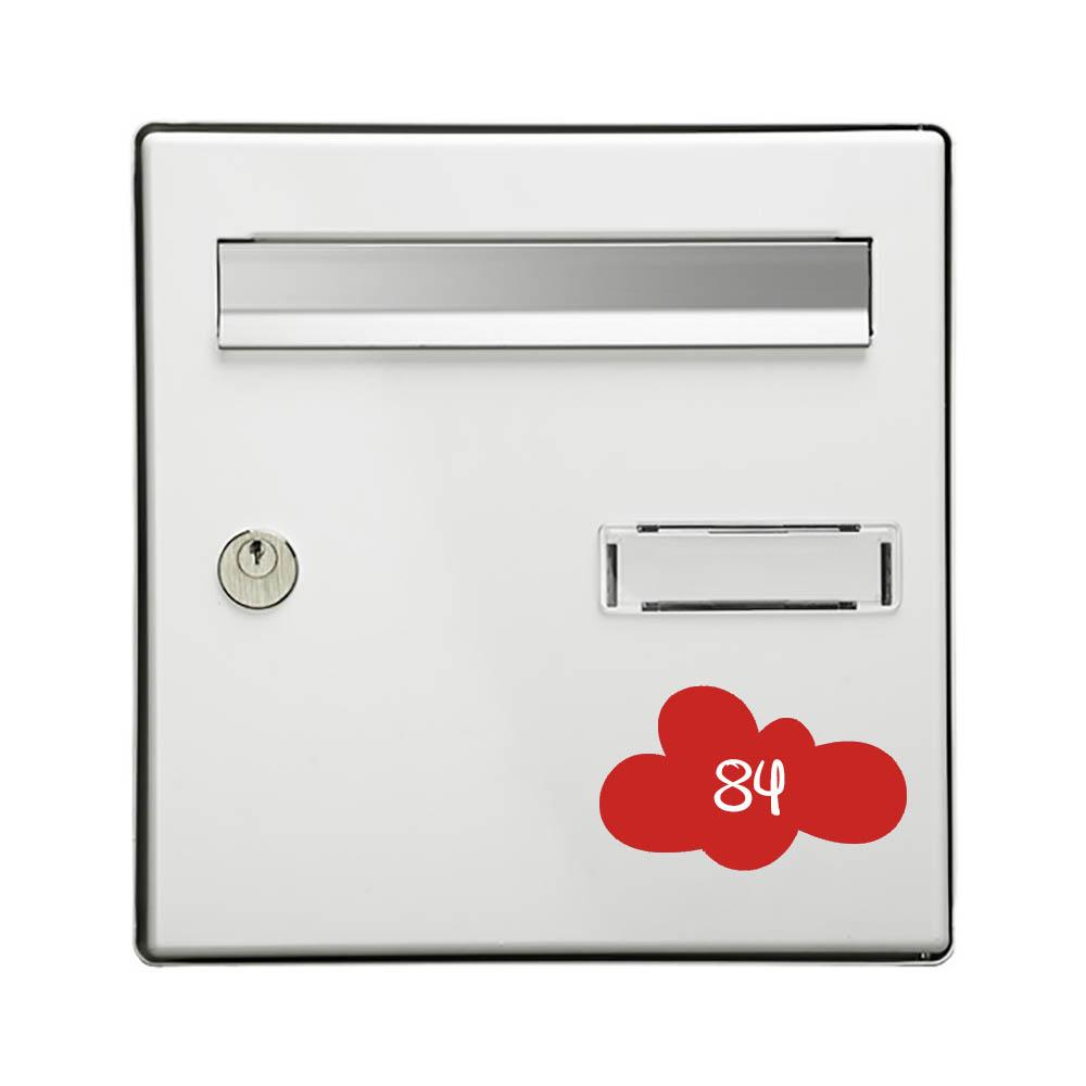 Numéro fantaisie personnalisable pour boite aux lettres couleur rouge chiffres blancs - Modèle Nuage