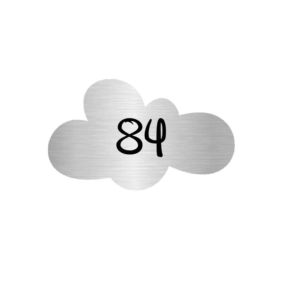 Numéro fantaisie personnalisable pour boite aux lettres couleur argent chiffres noirs - Modèle Nuage