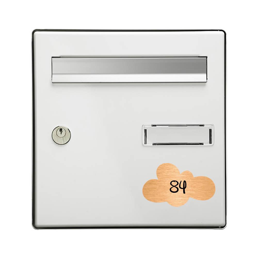 Numéro fantaisie personnalisable pour boite aux lettres couleur cuivre chiffres noirs - Modèle Nuage