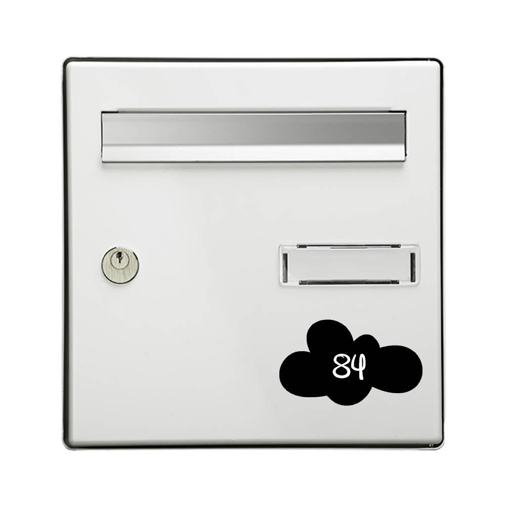 Numéro fantaisie personnalisable pour boite aux lettres couleur noir chiffres blancs - Modèle Nuage
