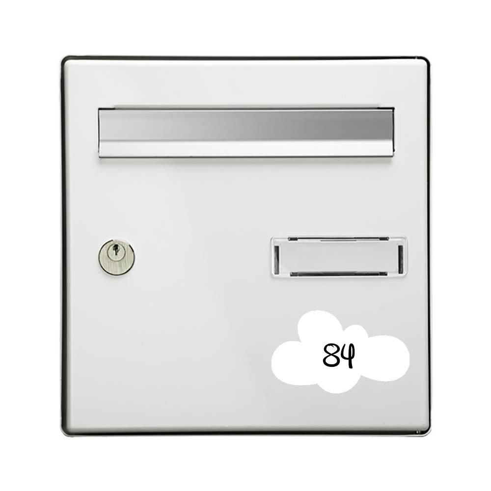 Numéro fantaisie personnalisable pour boite aux lettres couleur blanc chiffres noirs - Modèle Nuage
