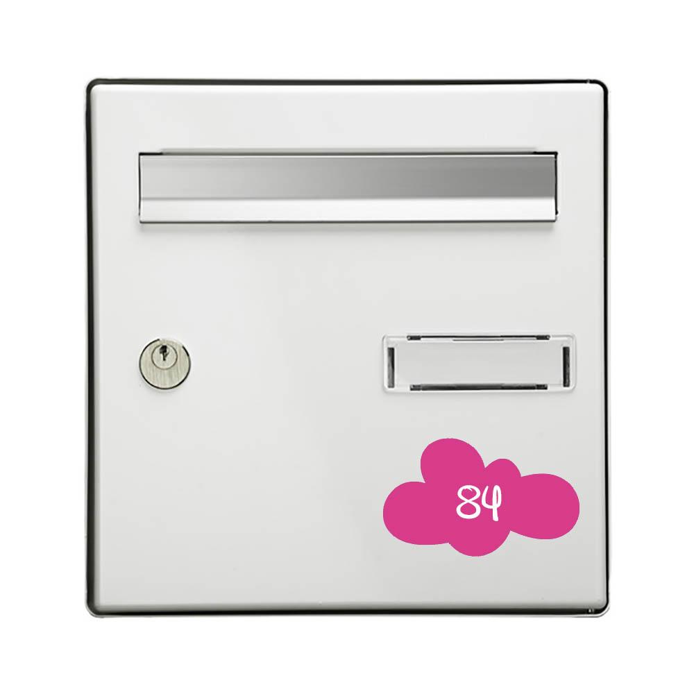 Numéro fantaisie personnalisable pour boite aux lettres couleur rose chiffres blancs - Modèle Nuage