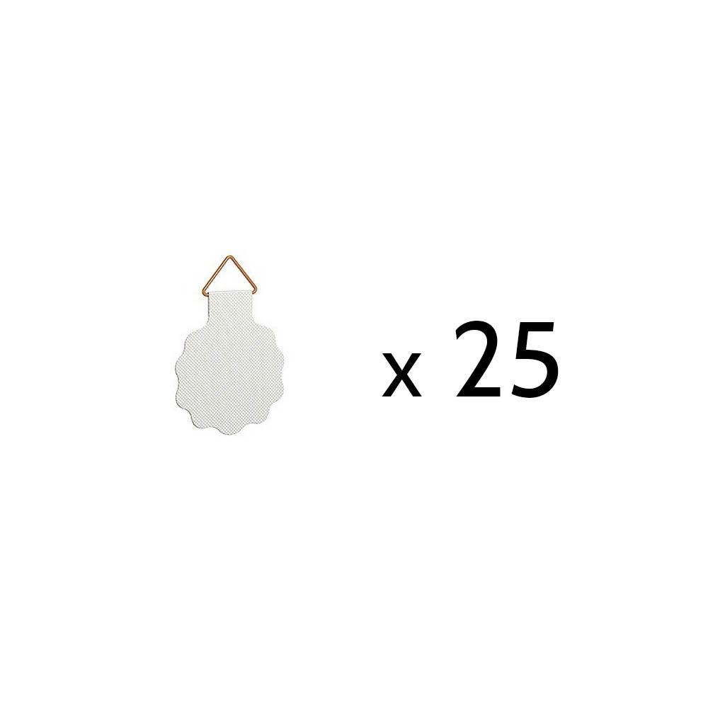 Lot de 25 crochets adhésifs diamètre 30 mm pour fixation cadres, tableaux - Charge max 100 grammes
