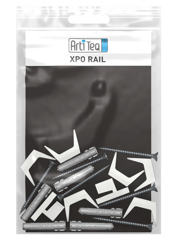 Fixation pour cimaise XPO Rail : clips / vis / chevilles - Artiteq