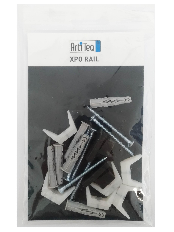 Kit de fixation pour cimaise XPO Rail : clips / vis / chevilles / embouts - Artiteq