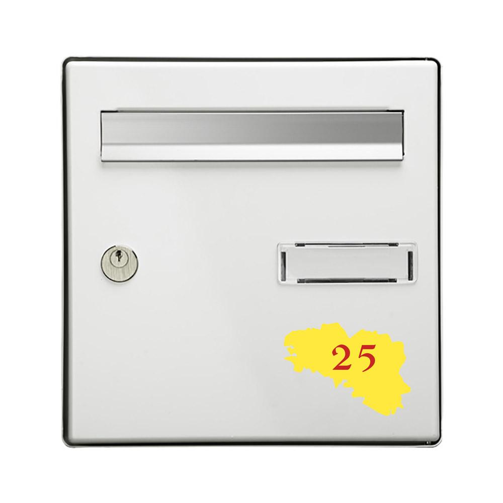 Numéro fantaisie personnalisable pour boite aux lettres couleur jaune chiffres rouges - Modèle région Bretagne