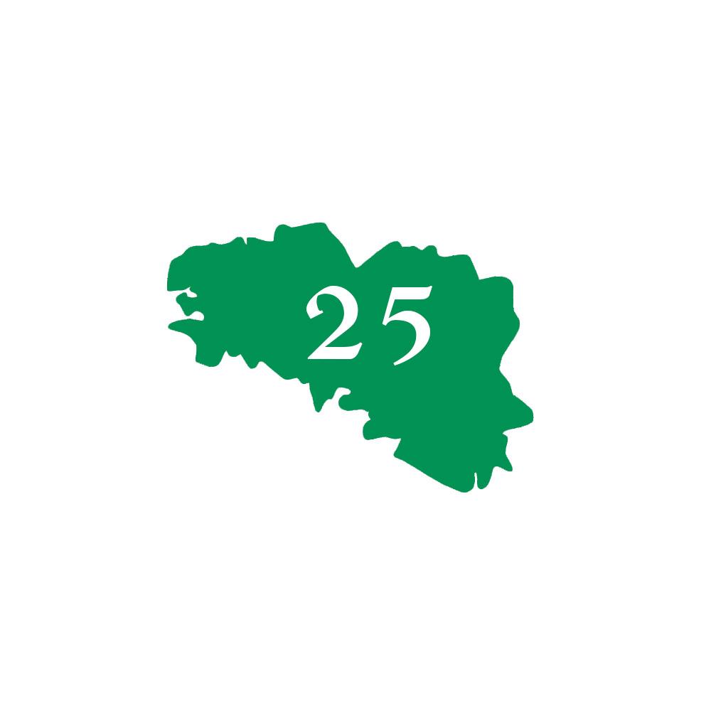 Numéro fantaisie personnalisable pour boite aux lettres couleur vert pomme chiffres blancs - Modèle région Bretagne
