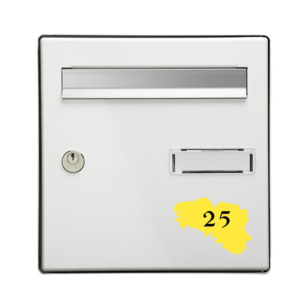 Numéro fantaisie personnalisable pour boite aux lettres couleur jaune chiffres noirs - Modèle région Bretagne
