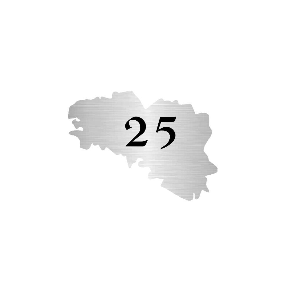 Numéro fantaisie personnalisable pour boite aux lettres couleur argent chiffres noirs - Modèle région Bretagne