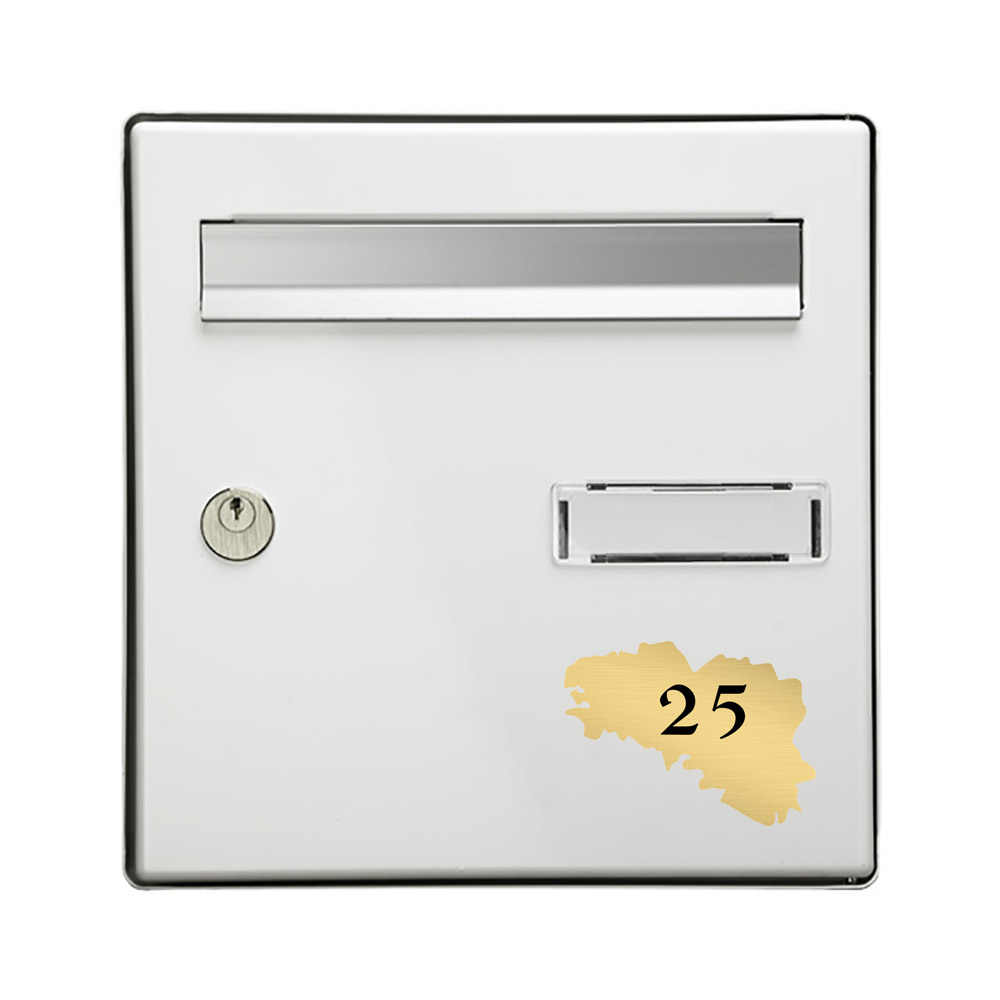 Numéro fantaisie personnalisable pour boite aux lettres couleur or brossé chiffres noirs - Modèle région Bretagne