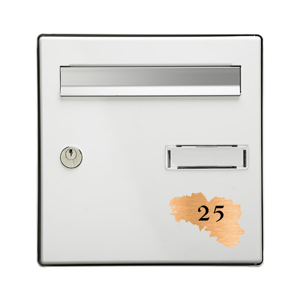 Numéro fantaisie personnalisable pour boite aux lettres couleur cuivre chiffres noirs - Modèle région Bretagne