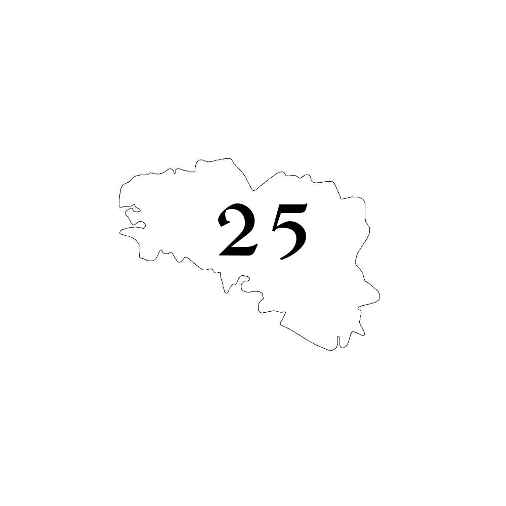 Numéro fantaisie personnalisable pour boite aux lettres couleur blanc chiffres noirs - Modèle région Bretagne