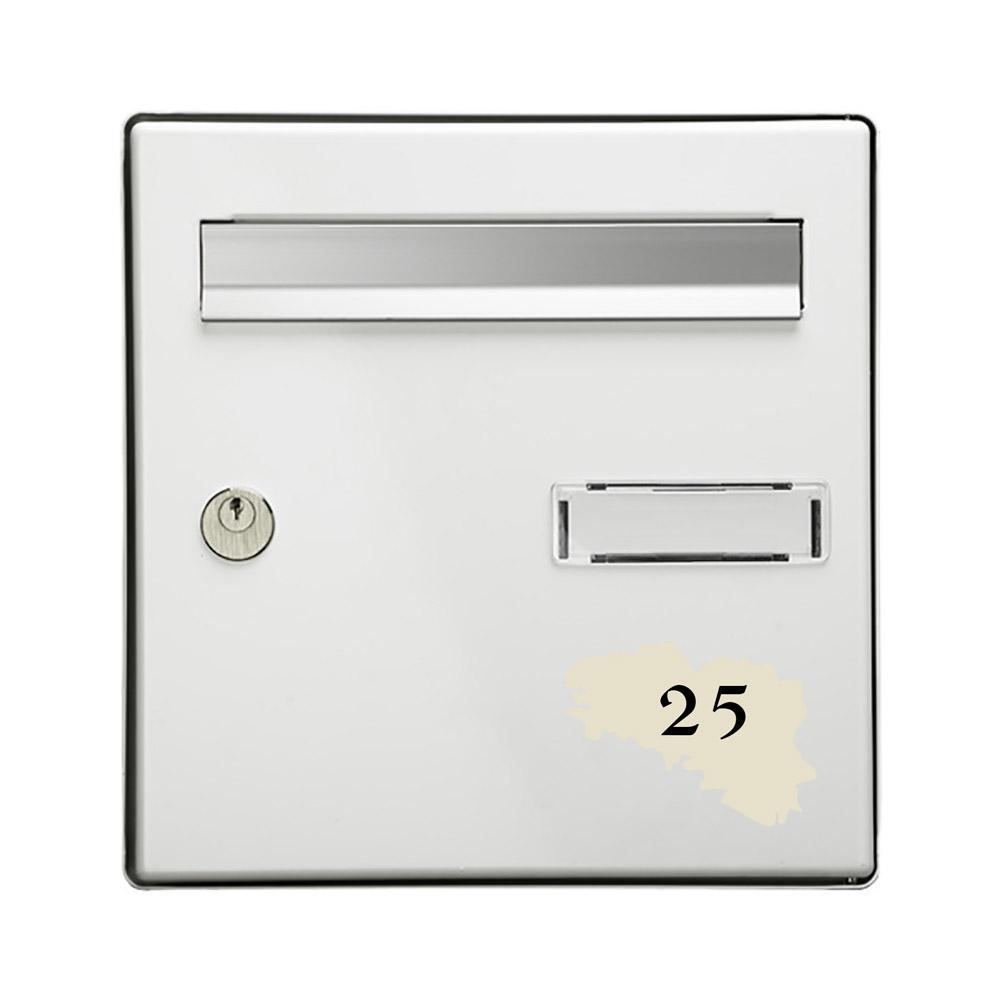 Numéro fantaisie personnalisable pour boite aux lettres couleur beige chiffres noirs - Modèle région Bretagne