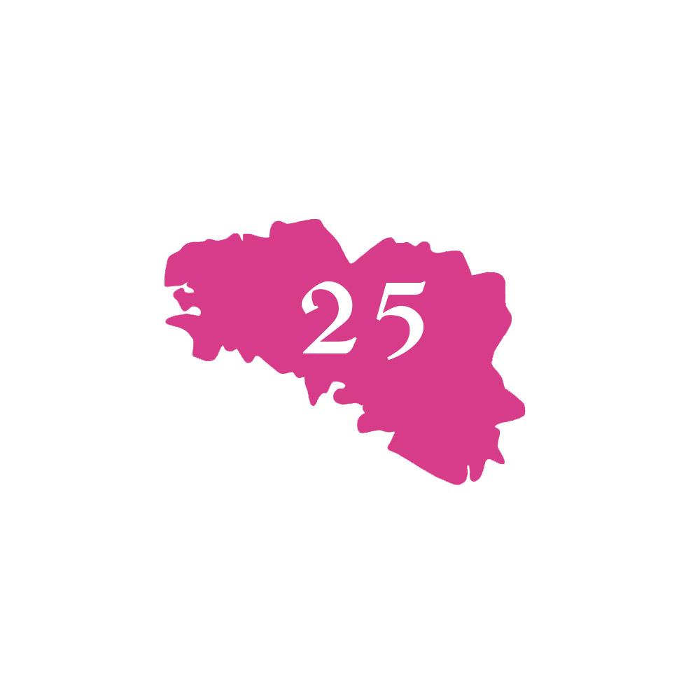 Numéro fantaisie personnalisable pour boite aux lettres couleur rose chiffres blancs - Modèle région Bretagne
