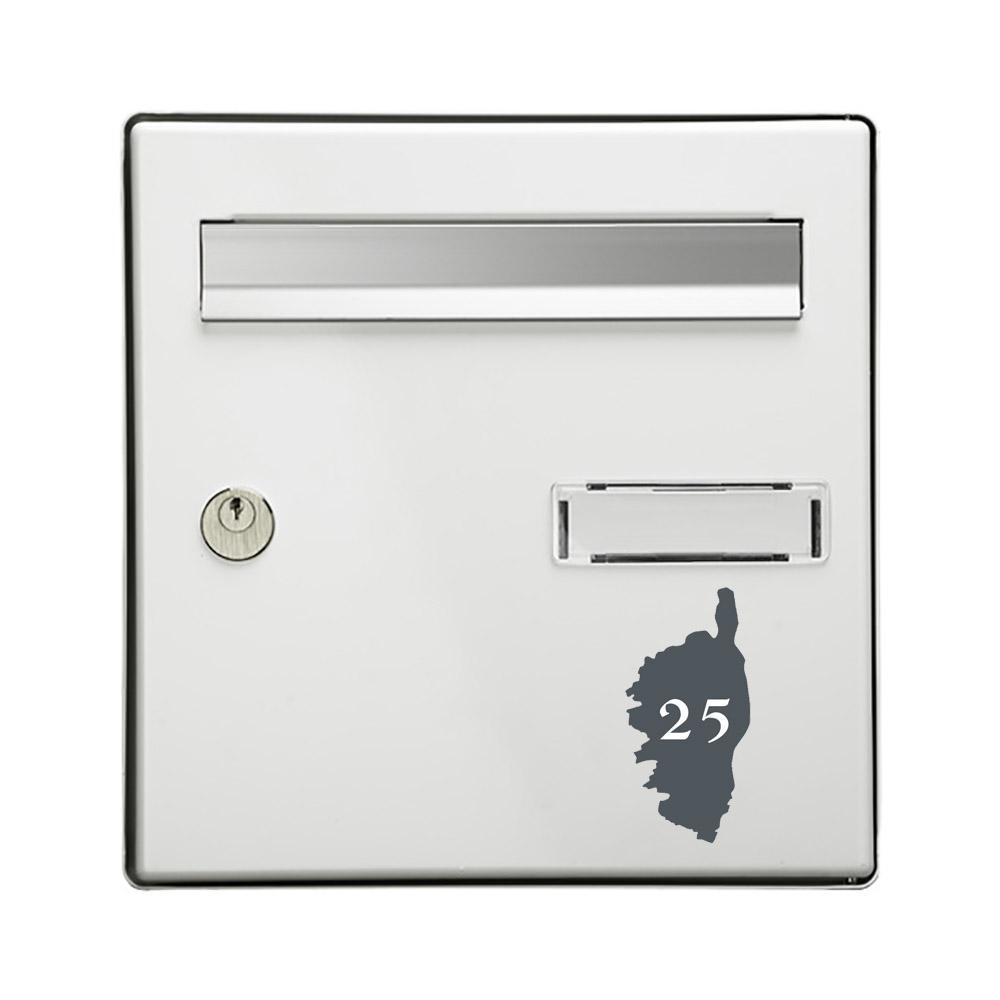 Numéro fantaisie personnalisable pour boite aux lettres couleur gris chiffres blancs - Modèle région Corse