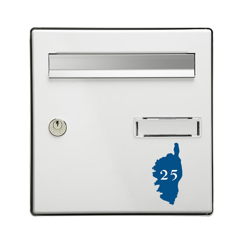Numéro fantaisie personnalisable pour boite aux lettres couleur bleu chiffres blancs - Modèle région Corse