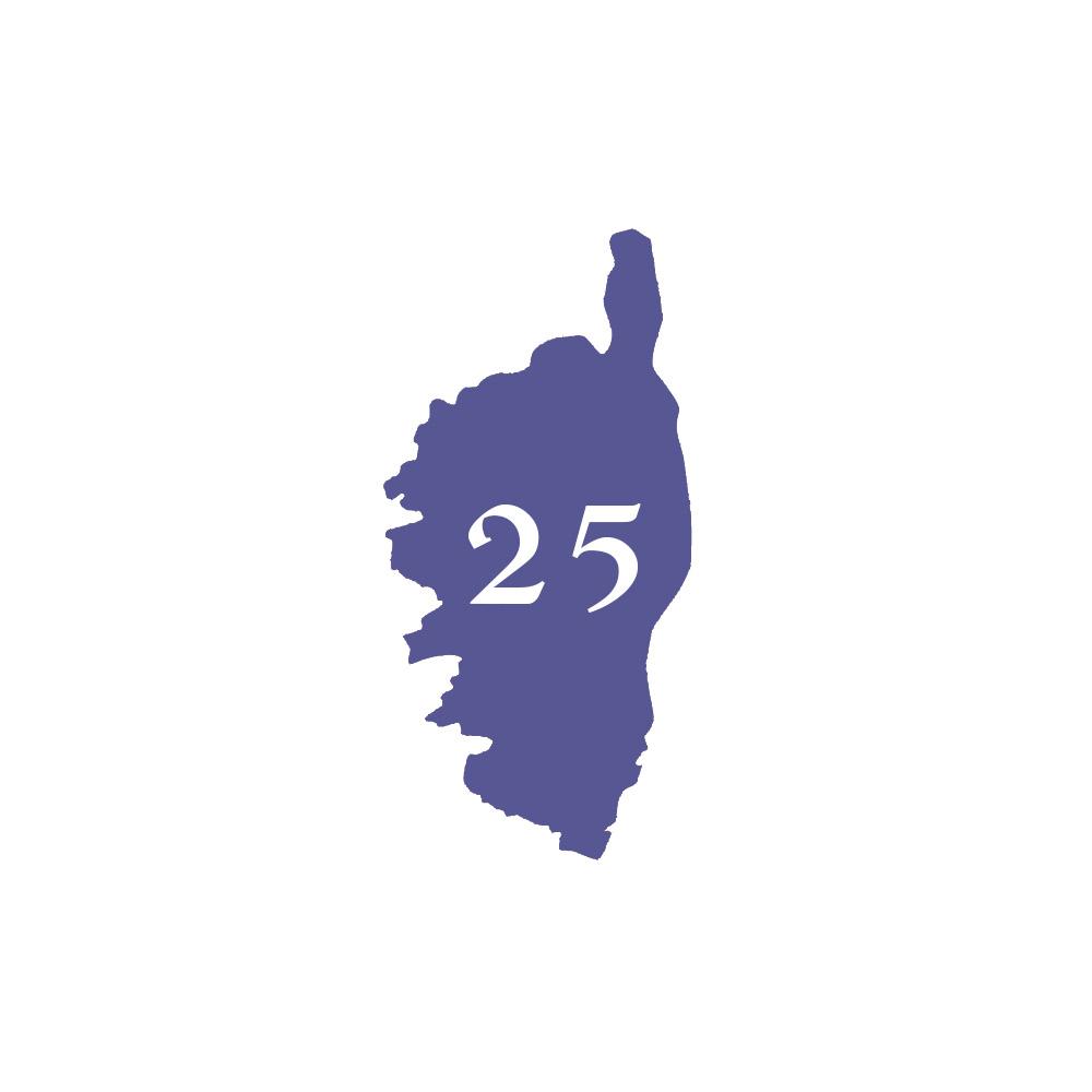 Numéro fantaisie personnalisable pour boite aux lettres couleur violet chiffres blancs - Modèle région Corse