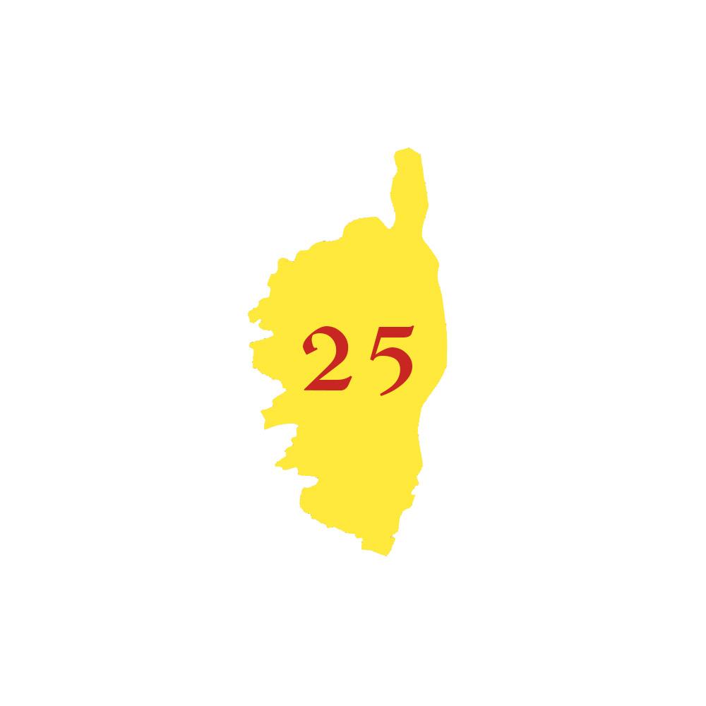 Numéro fantaisie personnalisable pour boite aux lettres couleur jaune chiffres rouges - Modèle région Corse