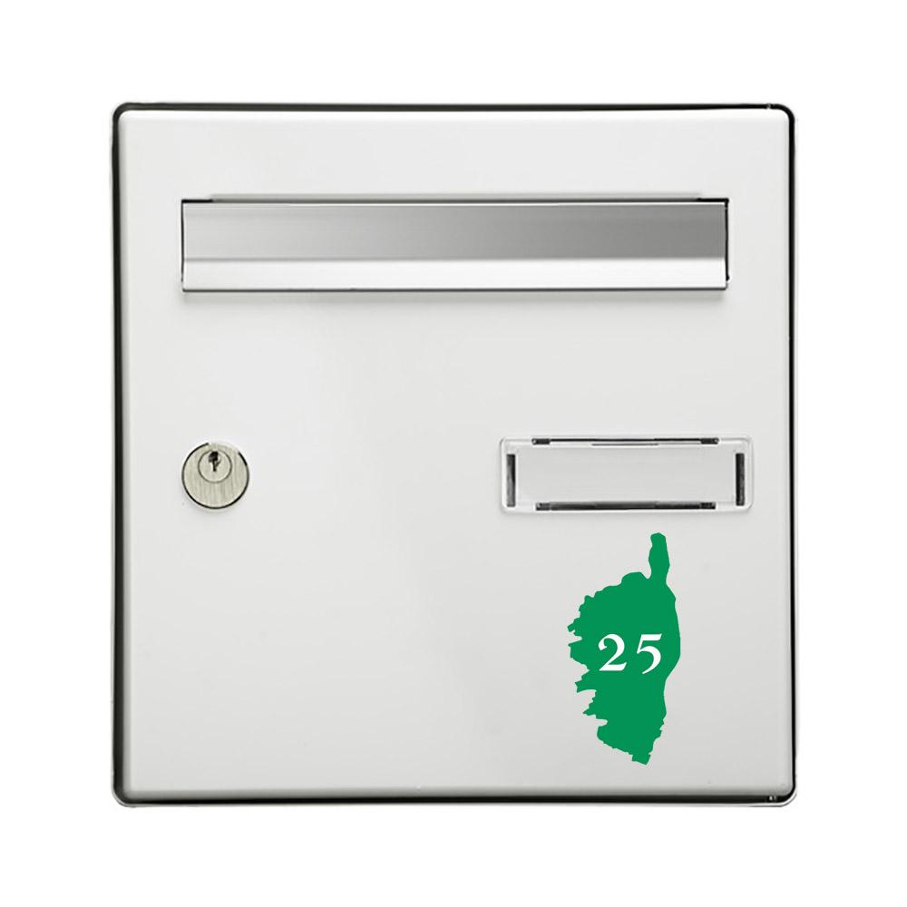 Numéro fantaisie personnalisable pour boite aux lettres couleur vert pomme chiffres blancs - Modèle région Corse