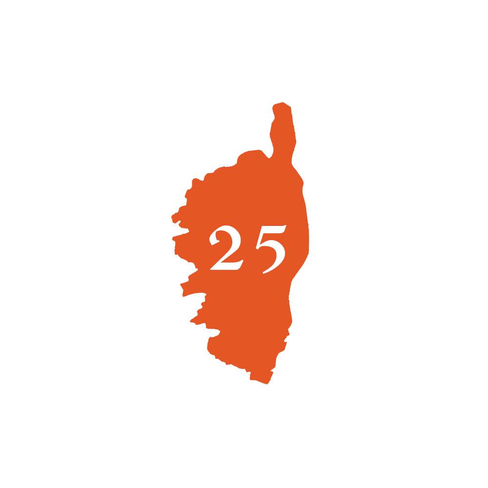 Numéro fantaisie personnalisable pour boite aux lettres couleur orange chiffres blancs - Modèle région Corse