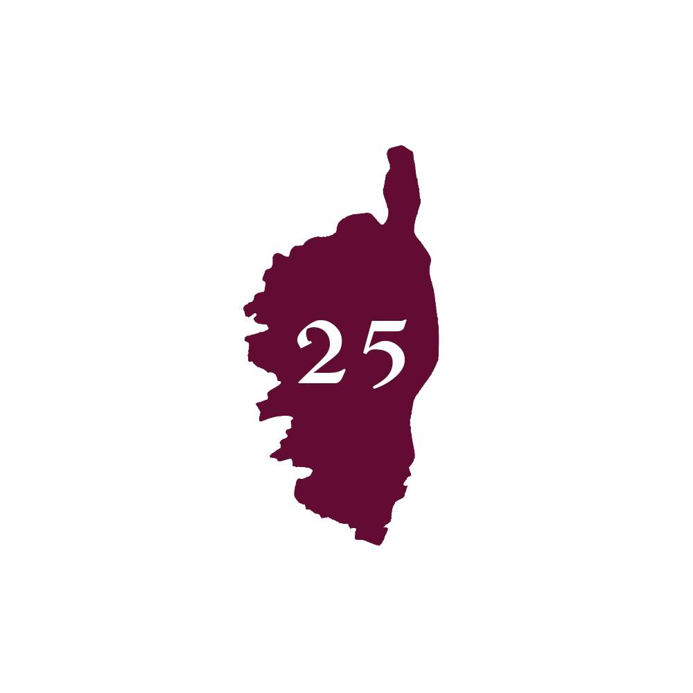 Numéro fantaisie personnalisable pour boite aux lettres couleur bordeaux chiffres blancs - Modèle région Corse