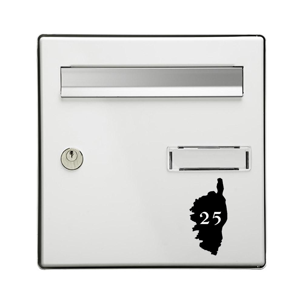 Numéro fantaisie personnalisable pour boite aux lettres couleur noir chiffres blancs - Modèle région Corse