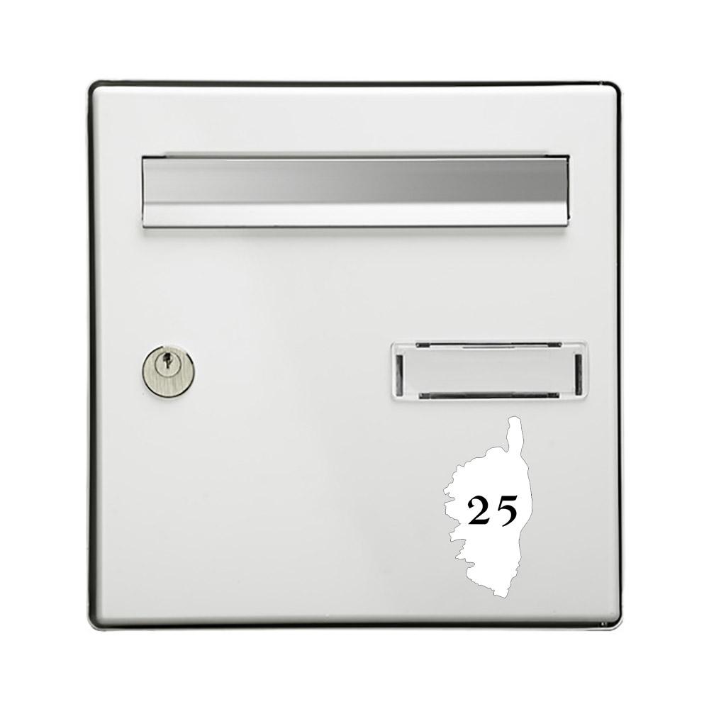 Numéro fantaisie personnalisable pour boite aux lettres couleur blanc chiffres noirs - Modèle région Corse