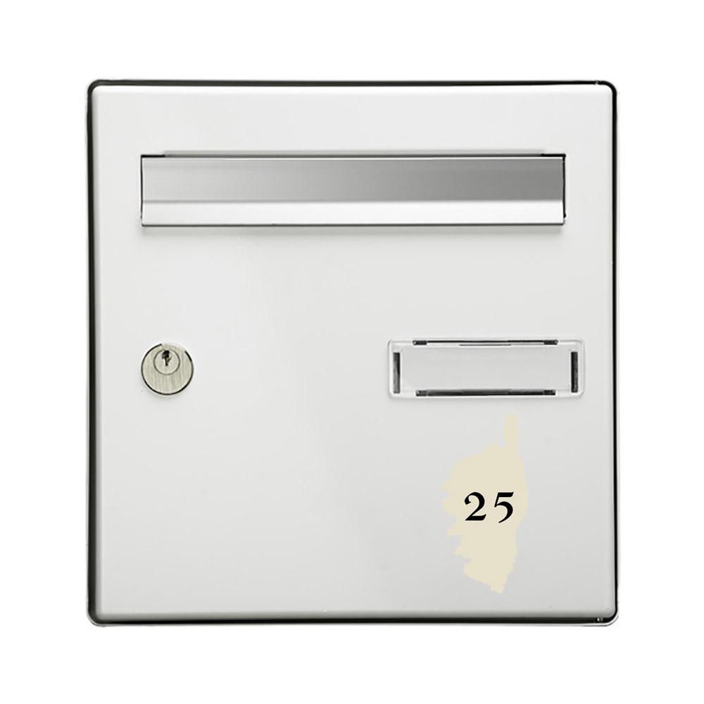 Numéro fantaisie personnalisable pour boite aux lettres couleur beige chiffres noirs - Modèle région Corse