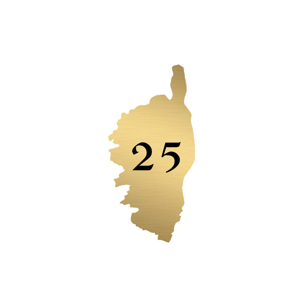 Numéro fantaisie personnalisable pour boite aux lettres couleur or brossé chiffres noirs - Modèle région Corse