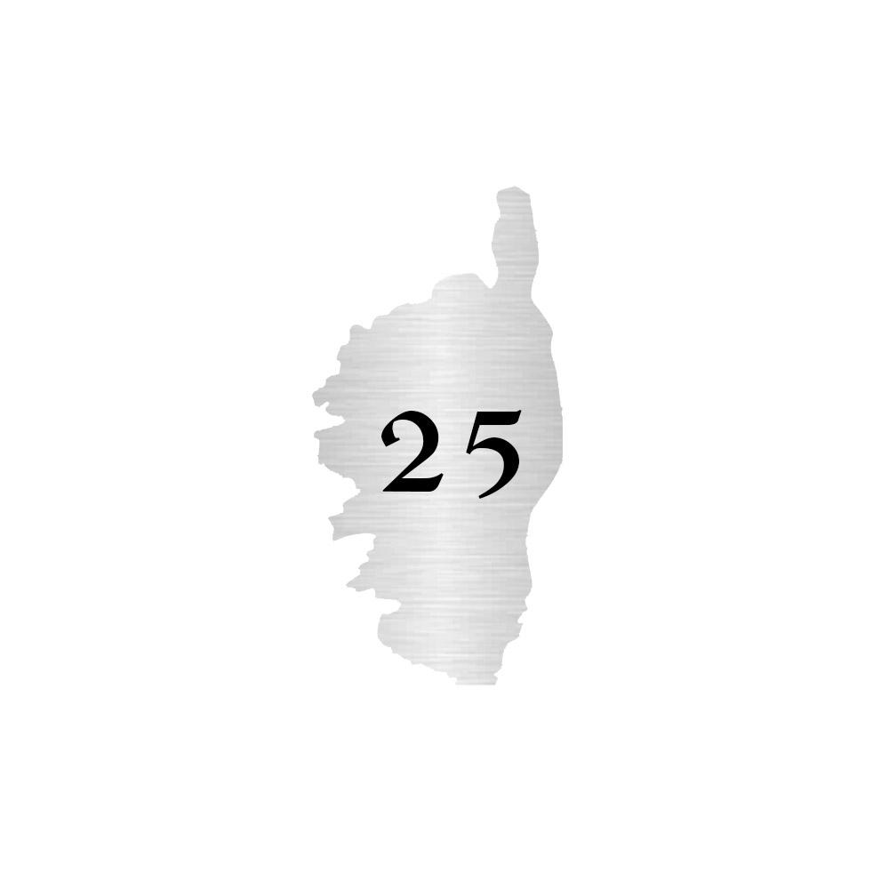 Numéro fantaisie personnalisable pour boite aux lettres couleur argent chiffres noirs - Modèle région Corse