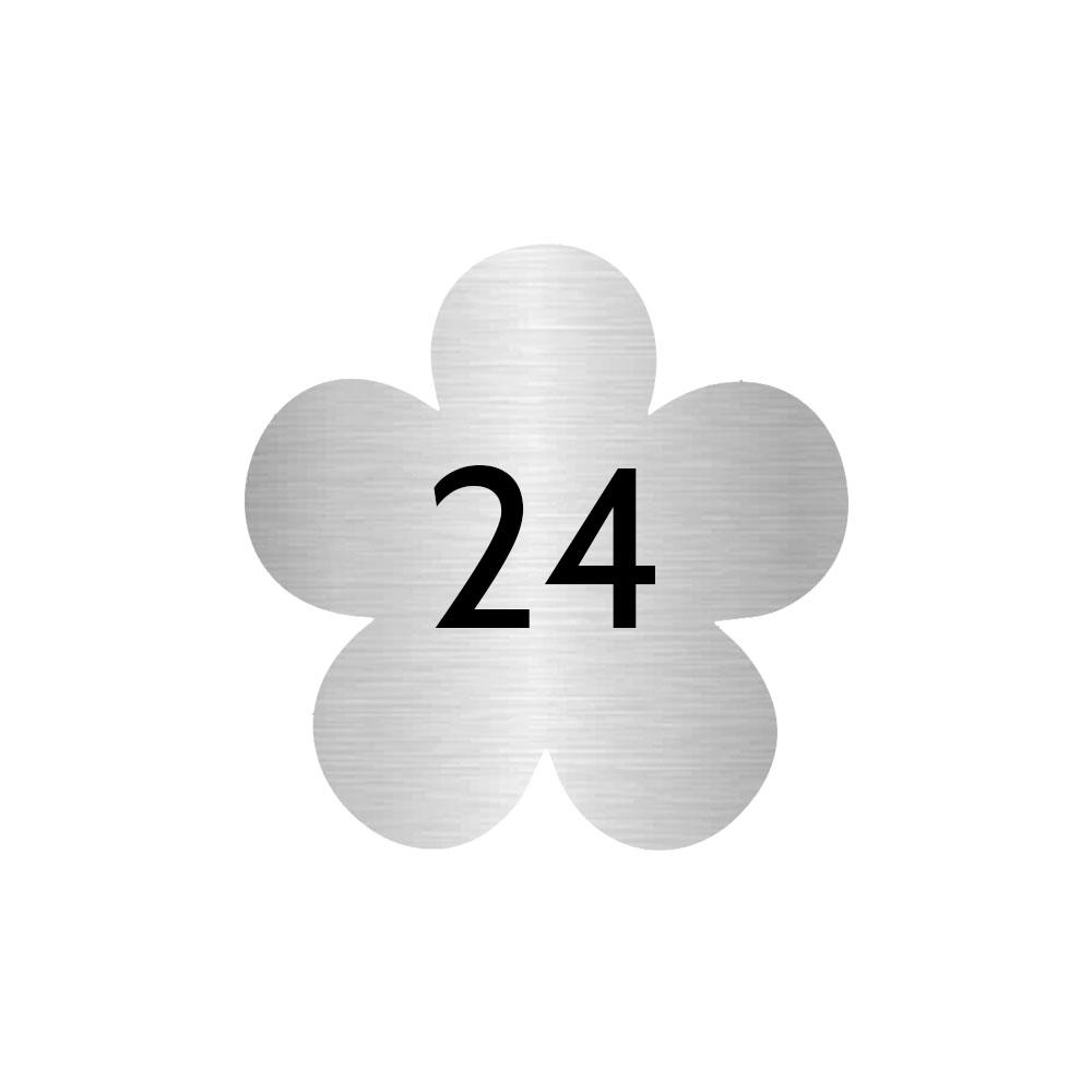 Numéro fantaisie personnalisable pour boite aux lettres couleur argent chiffres noirs - Modèle Fleur