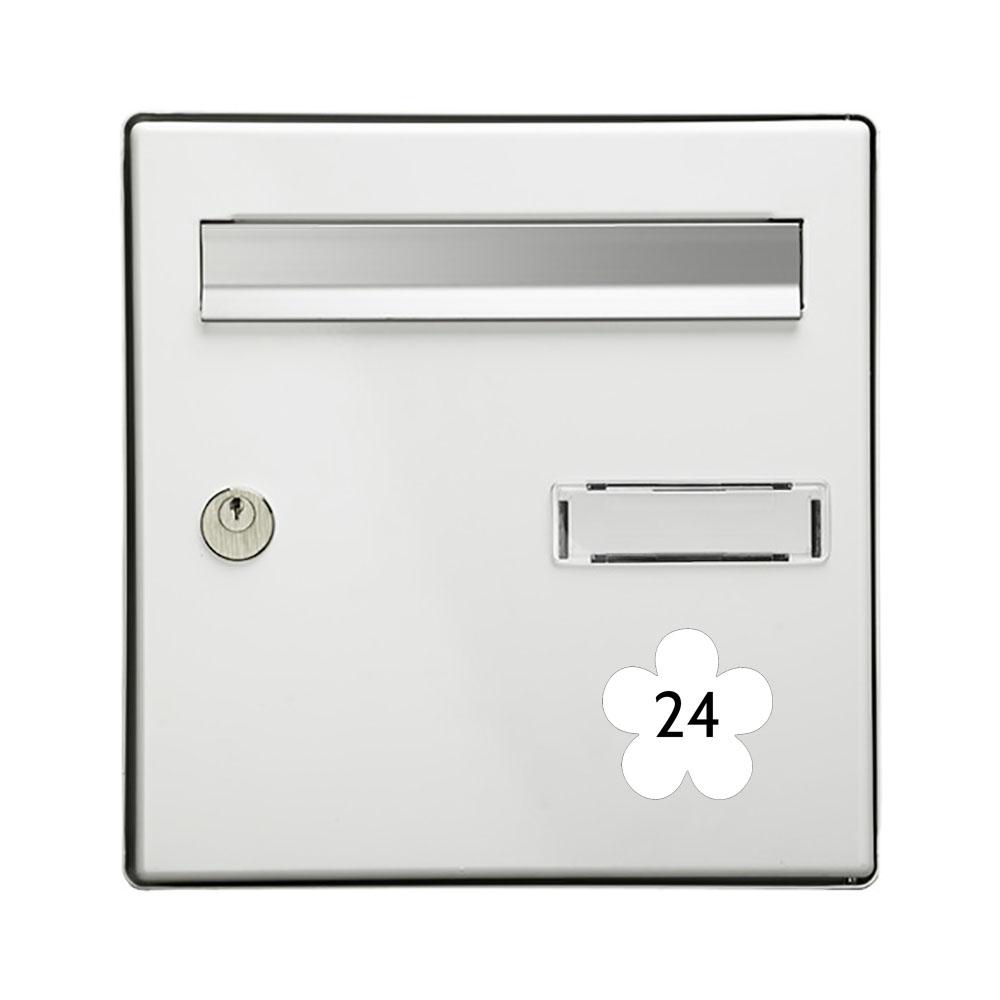 Numéro fantaisie personnalisable pour boite aux lettres couleur blanc chiffres noirs - Modèle Fleur