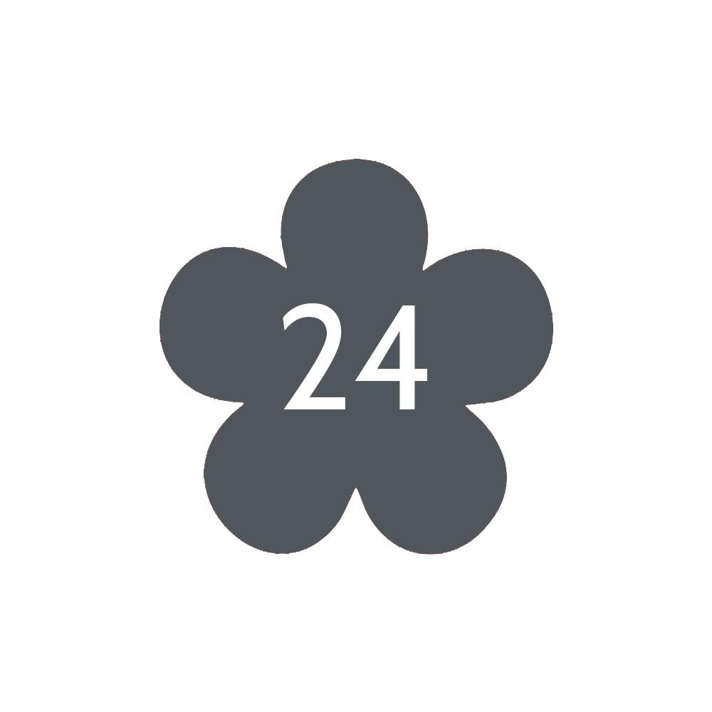 Numéro fantaisie personnalisable pour boite aux lettres couleur gris chiffres blancs - Modèle Fleur