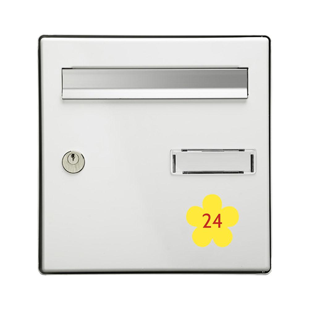 Numéro fantaisie personnalisable pour boite aux lettres couleur jaune chiffres rouges - Modèle Fleur