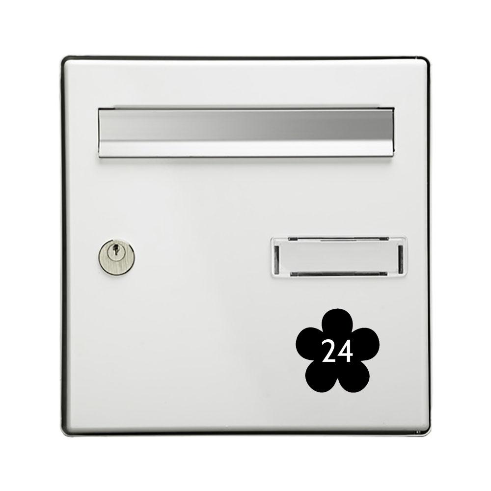 Numéro fantaisie personnalisable pour boite aux lettres couleur noir chiffres blancs - Modèle Fleur