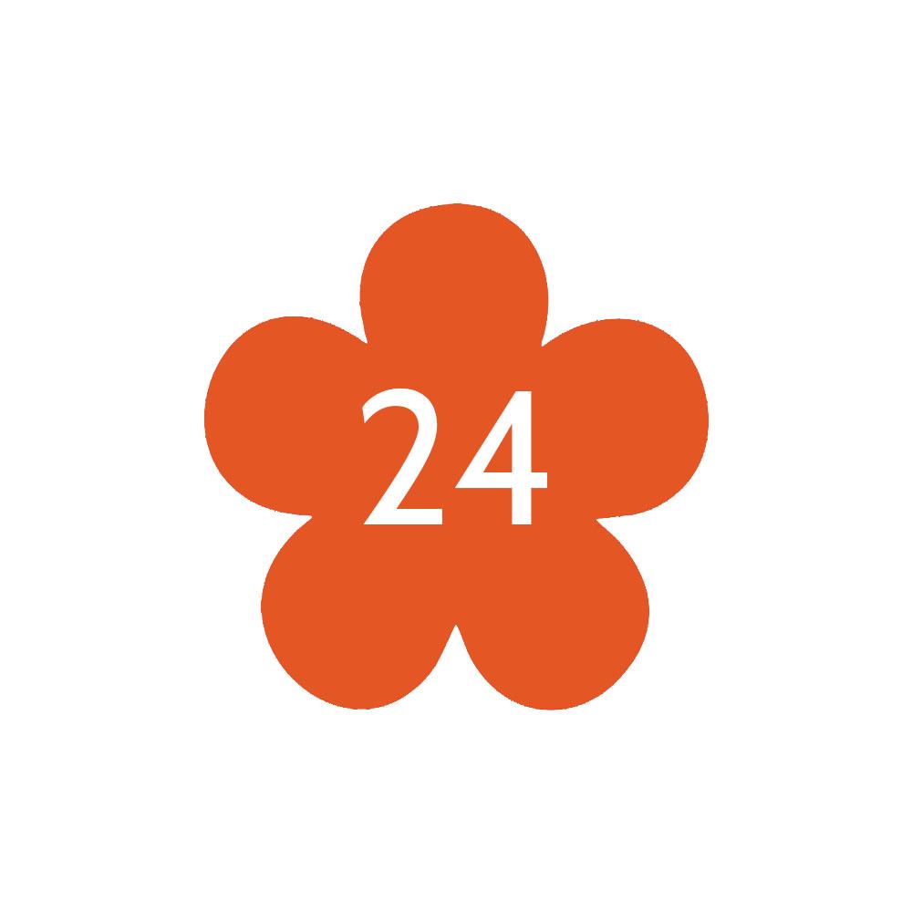 Numéro fantaisie personnalisable pour boite aux lettres couleur orange chiffres blancs - Modèle Fleur