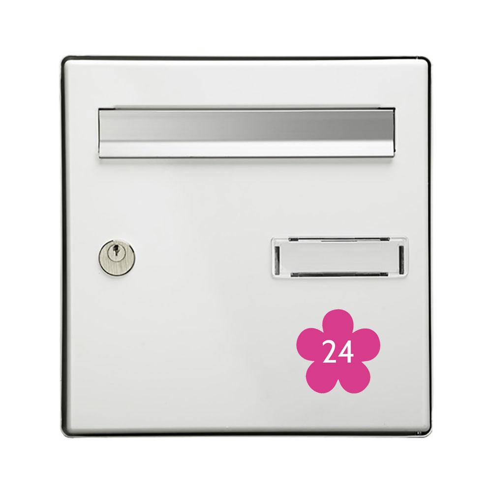 Numéro fantaisie personnalisable pour boite aux lettres couleur rose chiffres blancs - Modèle Fleur