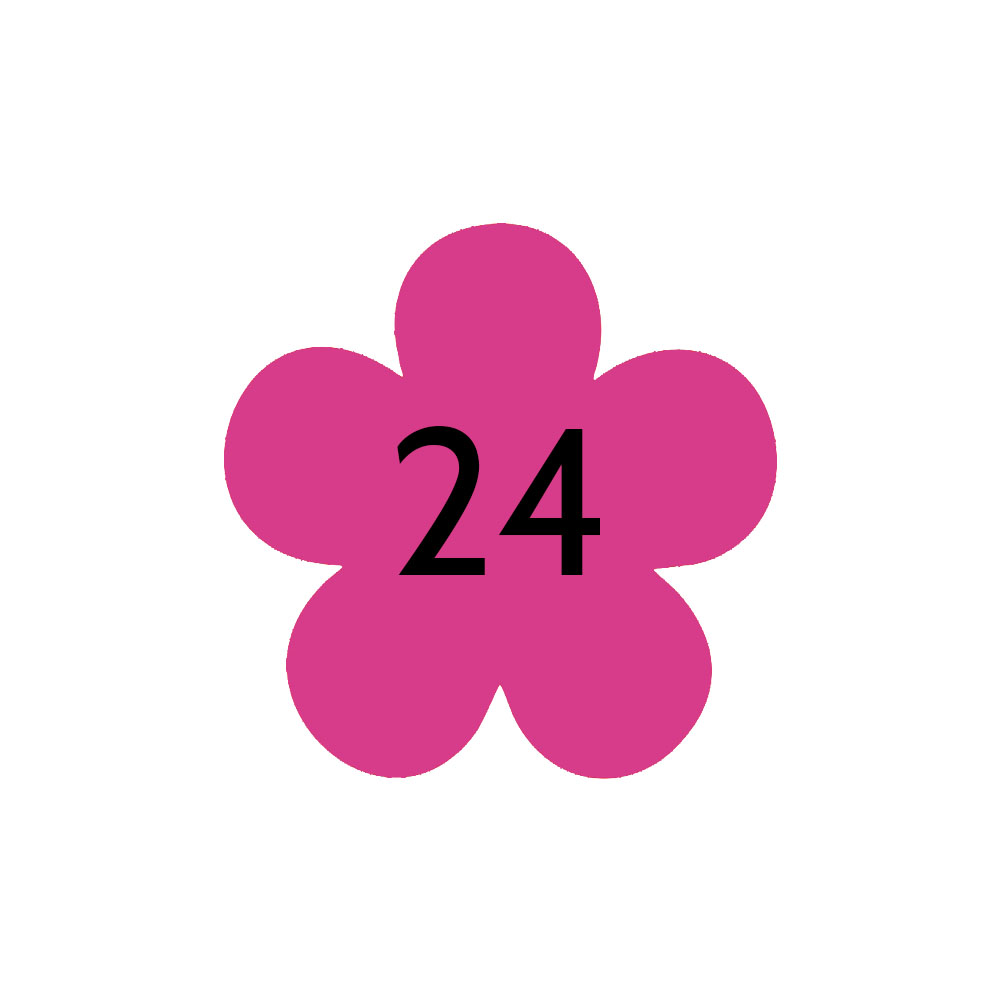 Numéro fantaisie personnalisable pour boite aux lettres couleur rose chiffres noirs - Modèle Fleur