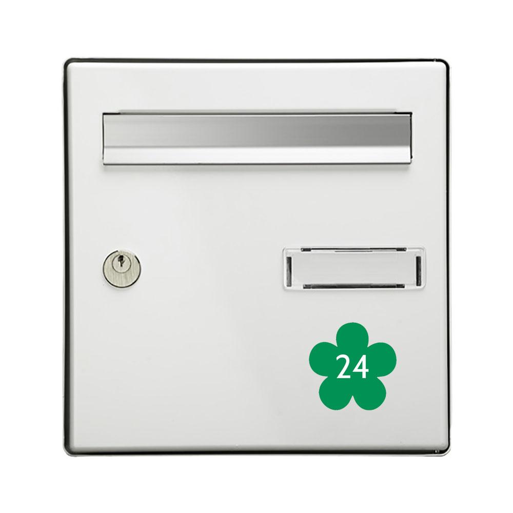 Numéro fantaisie personnalisable pour boite aux lettres couleur vert pomme chiffres blancs - Modèle Fleur