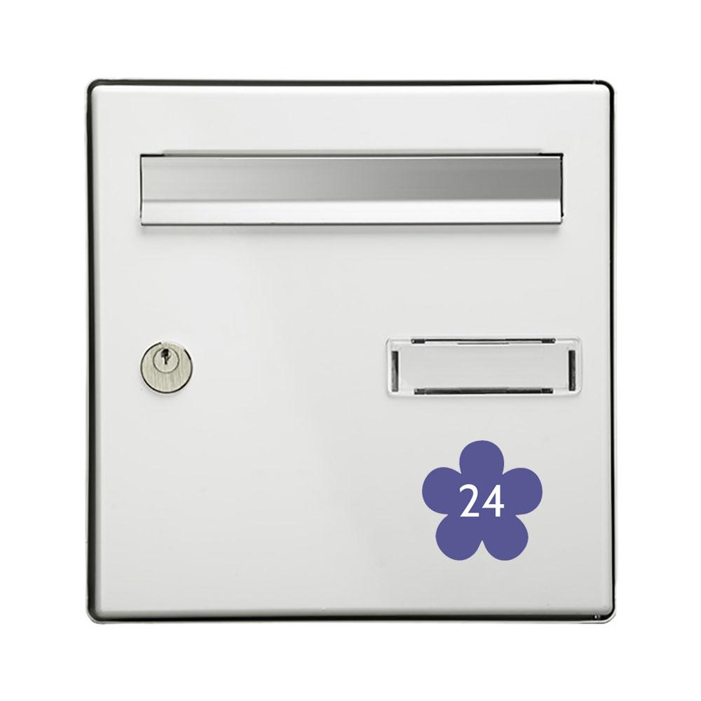 Numéro fantaisie personnalisable pour boite aux lettres couleur violet chiffres blancs - Modèle Fleur