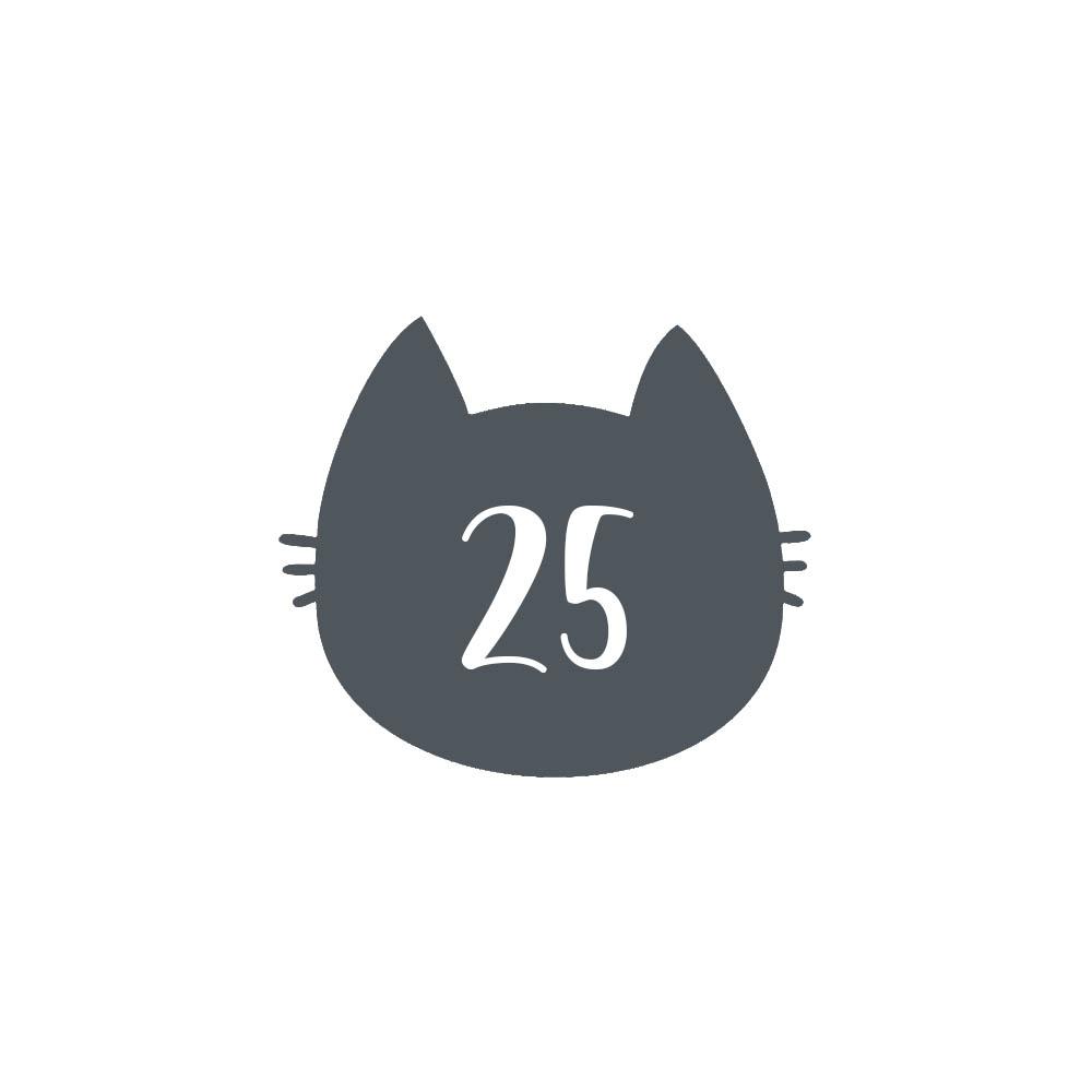 Numéro fantaisie personnalisable pour boite aux lettres couleur gris chiffres blancs - Modèle Chat