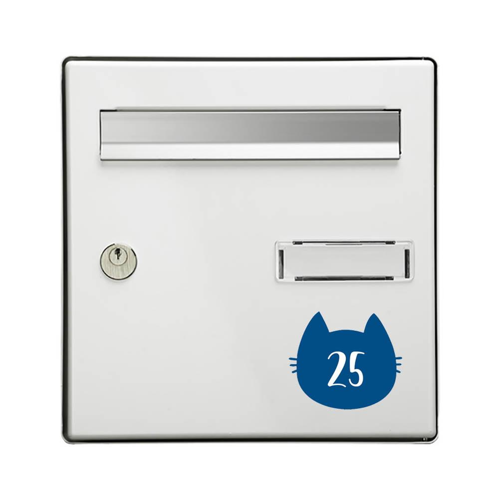 Numéro fantaisie personnalisable pour boite aux lettres couleur bleu chiffres blancs - Modèle Chat