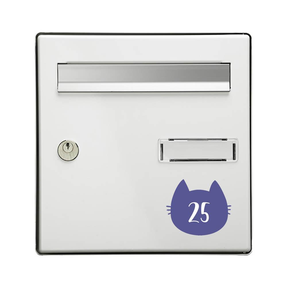 Numéro fantaisie personnalisable pour boite aux lettres couleur violet chiffres blancs - Modèle Chat