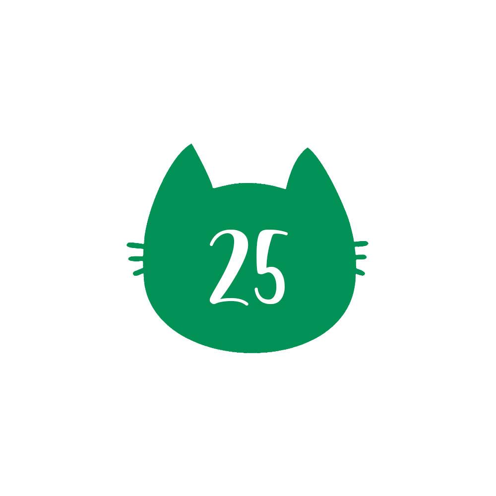 Numéro fantaisie personnalisable pour boite aux lettres couleur vert pomme chiffres blancs - Modèle Chat