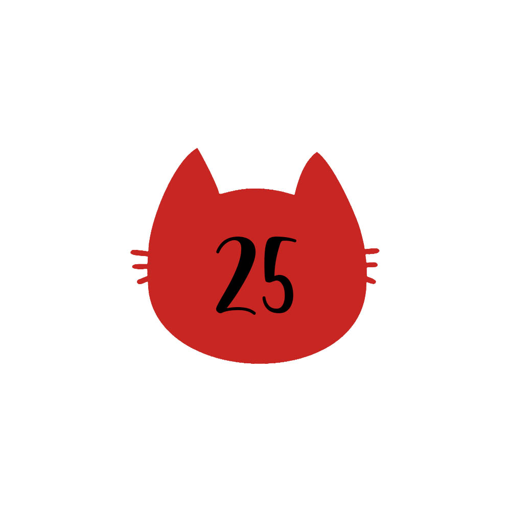 Numéro fantaisie personnalisable pour boite aux lettres couleur rouge chiffres noirs - Modèle Chat