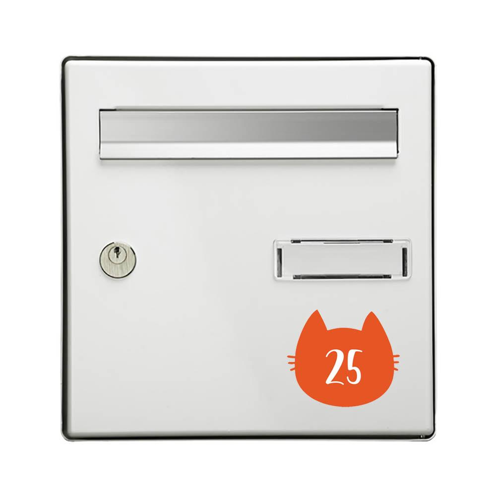 Numéro fantaisie personnalisable pour boite aux lettres couleur orange chiffres blancs - Modèle Chat