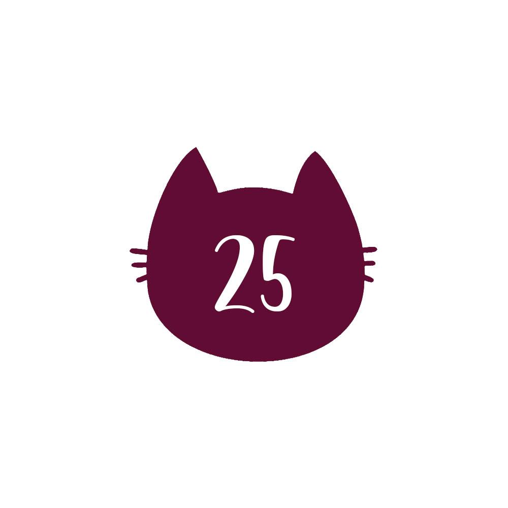Numéro fantaisie personnalisable pour boite aux lettres couleur bordeaux chiffres blancs - Modèle Chat