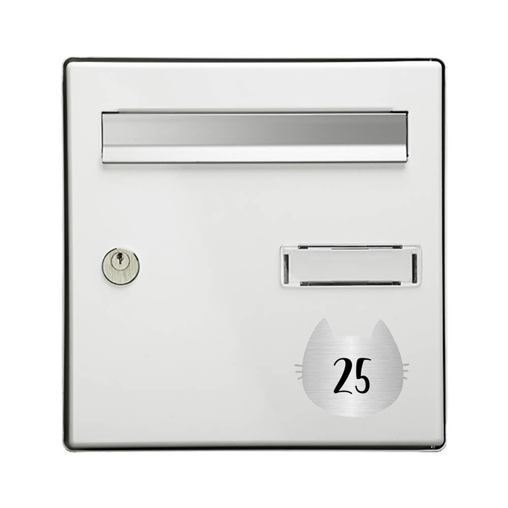 Numéro fantaisie personnalisable pour boite aux lettres couleur argent chiffres noirs - Modèle Chat