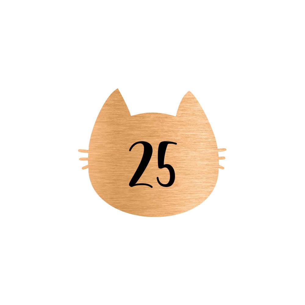 Numéro fantaisie personnalisable pour boite aux lettres couleur cuivre chiffres noirs - Modèle Chat