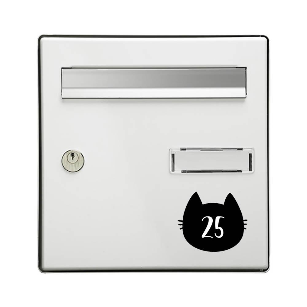 Numéro fantaisie personnalisable pour boite aux lettres couleur noir chiffres blancs - Modèle Chat